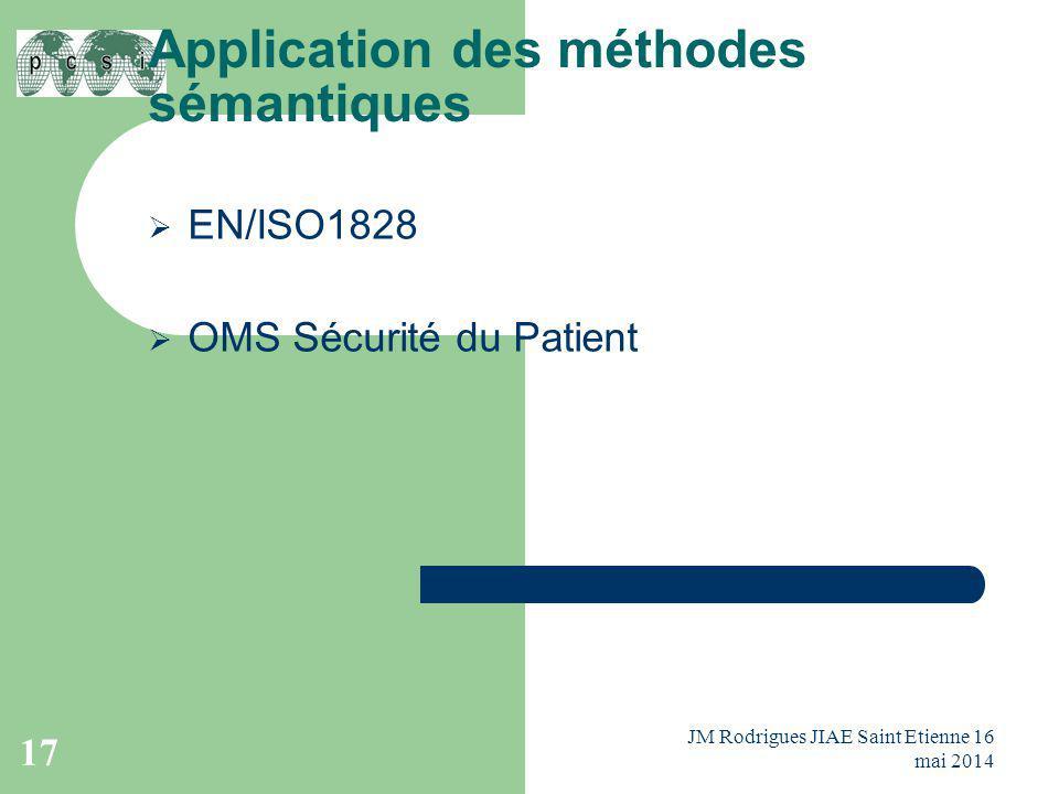 Application des méthodes sémantiques  EN/ISO1828  OMS Sécurité du Patient JM Rodrigues JIAE Saint Etienne 16 mai 2014 17