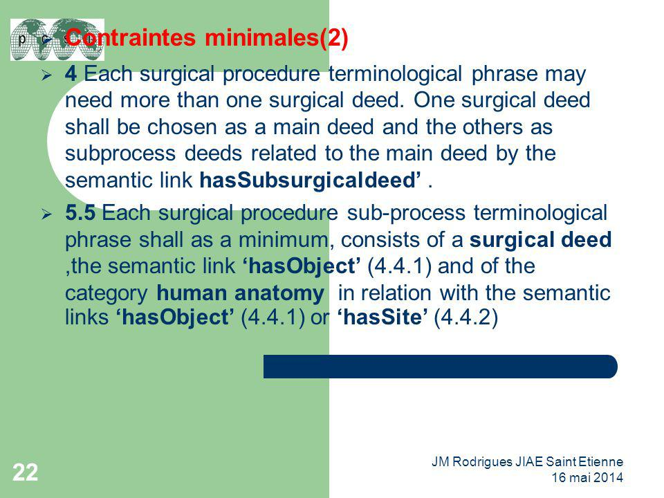 22  Contraintes minimales(2)  4 Each surgical procedure terminological phrase may need more than one surgical deed. One surgical deed shall be chos