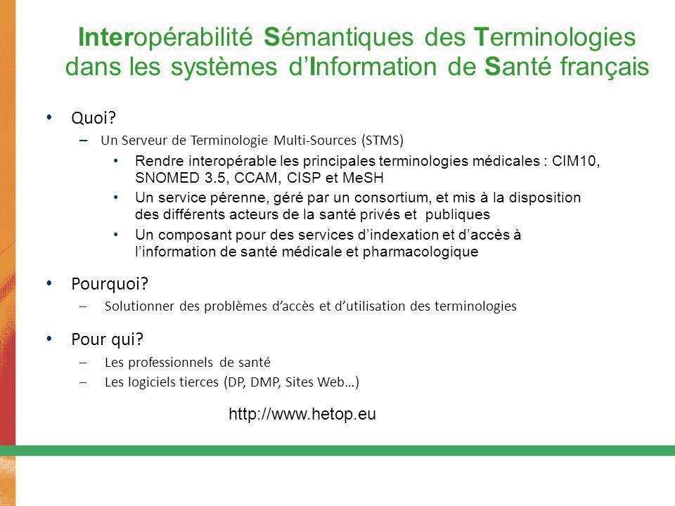 43 Interopérabilité Sémantiques des Terminologies dans les systèmes d'Information de Santé français Quoi? – Un Serveur de Terminologie Multi-Sources (