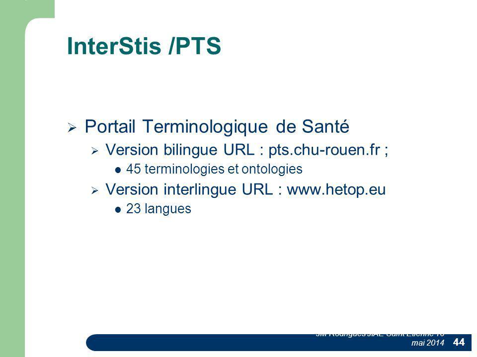 InterStis /PTS  Portail Terminologique de Santé  Version bilingue URL : pts.chu-rouen.fr ; 45 terminologies et ontologies  Version interlingue URL