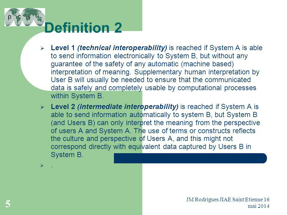 Definition 2  Level 1 (technical interoperability) is reached if System A is able to send information electronically to System B, but without any guarantee of the safety of any automatic (machine based) interpretation of meaning.