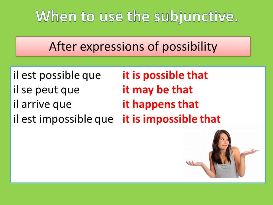 After expressions of possibility il est possible queit is possible that il se peut que it may be that il arrive queit happens that il est impossible que it is impossible that