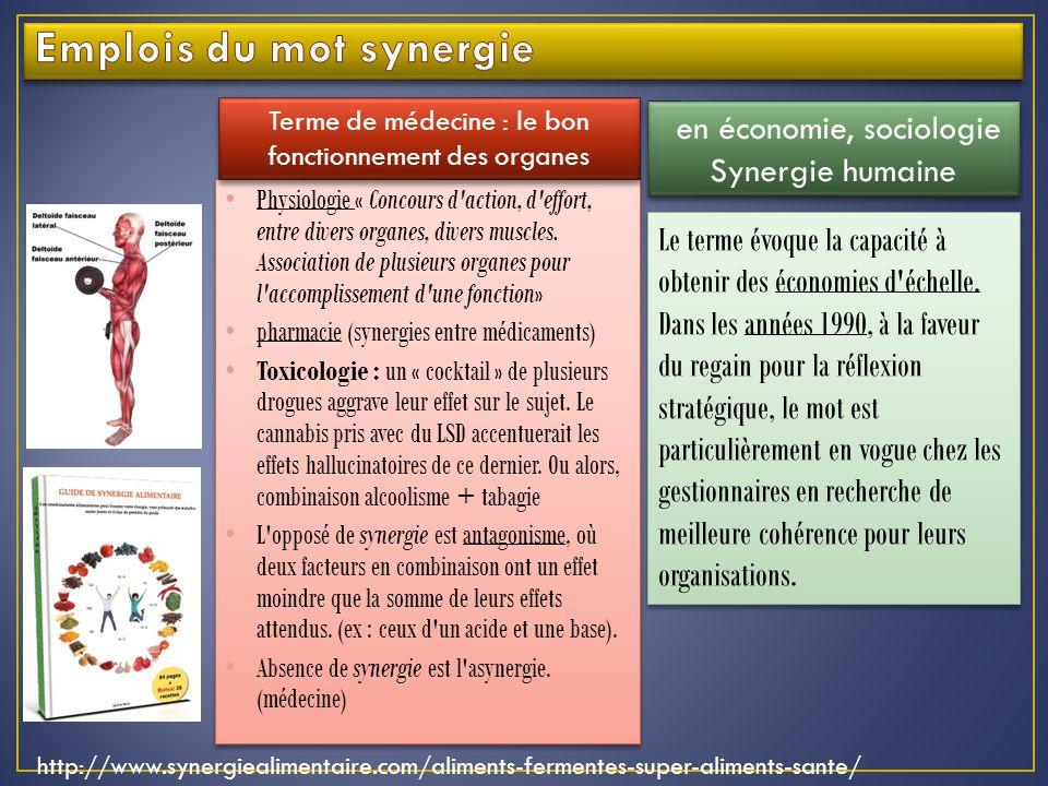 Physiologie « Concours d action, d effort, entre divers organes, divers muscles.