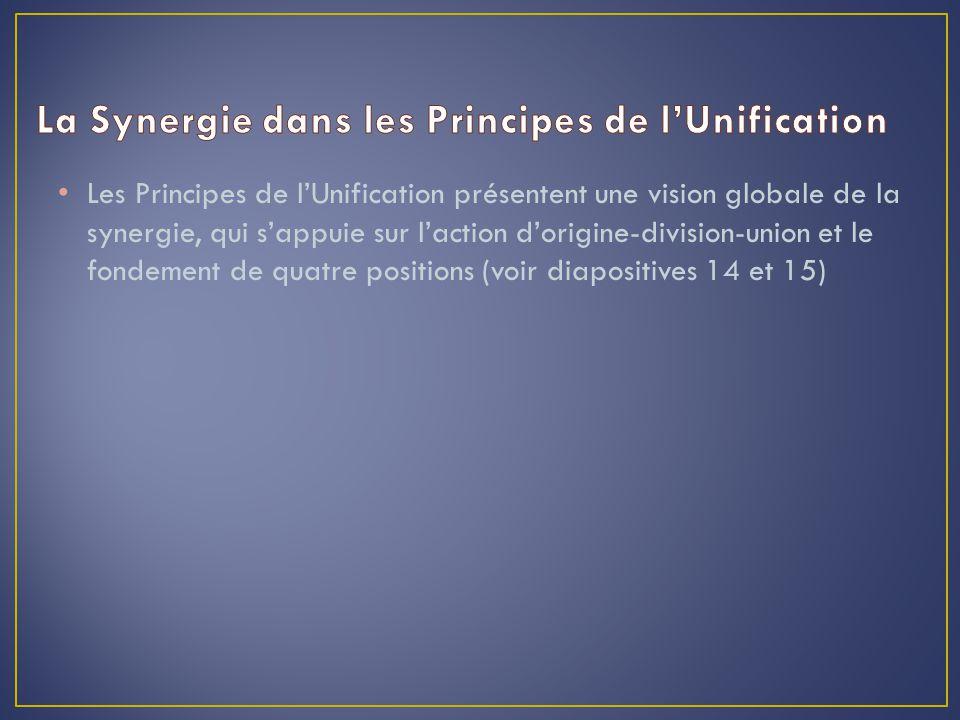 Les Principes de l'Unification présentent une vision globale de la synergie, qui s'appuie sur l'action d'origine-division-union et le fondement de quatre positions (voir diapositives 14 et 15)