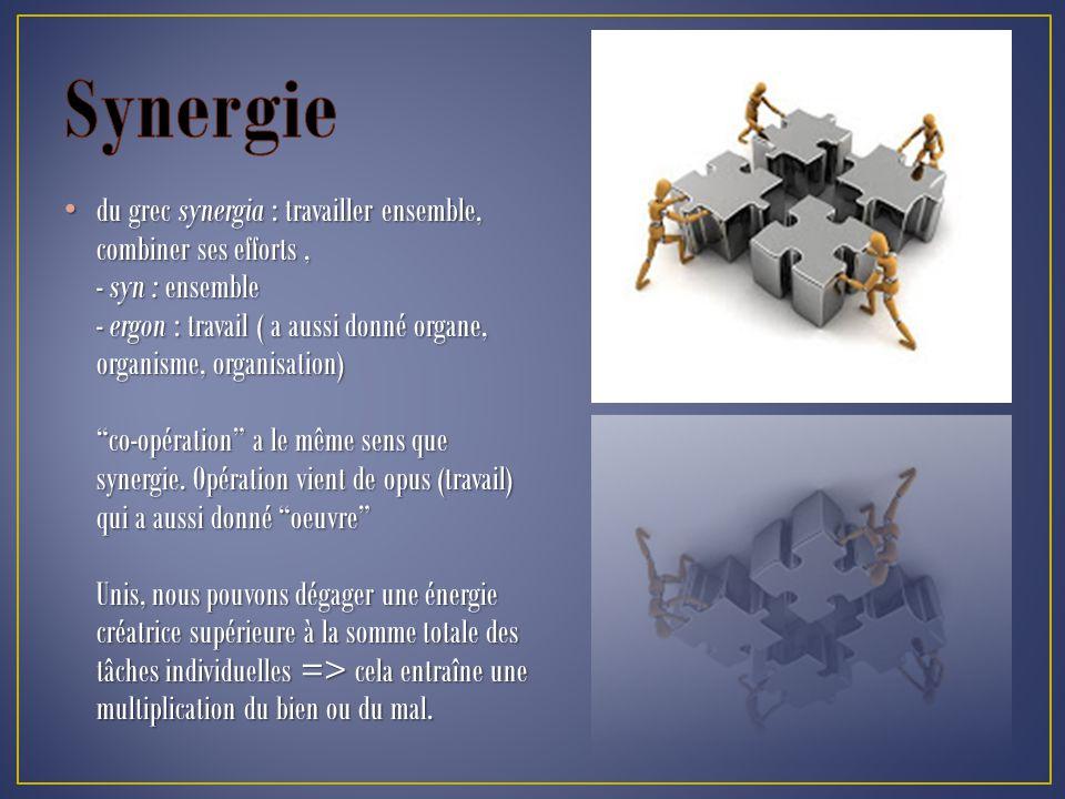 du grec synergia : travailler ensemble, combiner ses efforts, - syn : ensemble - ergon : travail ( a aussi donné organe, organisme, organisation) co-opération a le même sens que synergie.