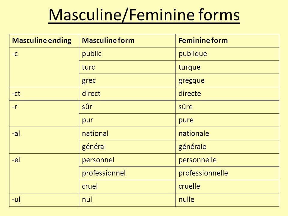 Masculine endingMasculine formFeminine form -cpublicpublique turcturque grecgrecque -ctdirectdirecte -rsûrsûre purpure -alnationalnationale généralgén