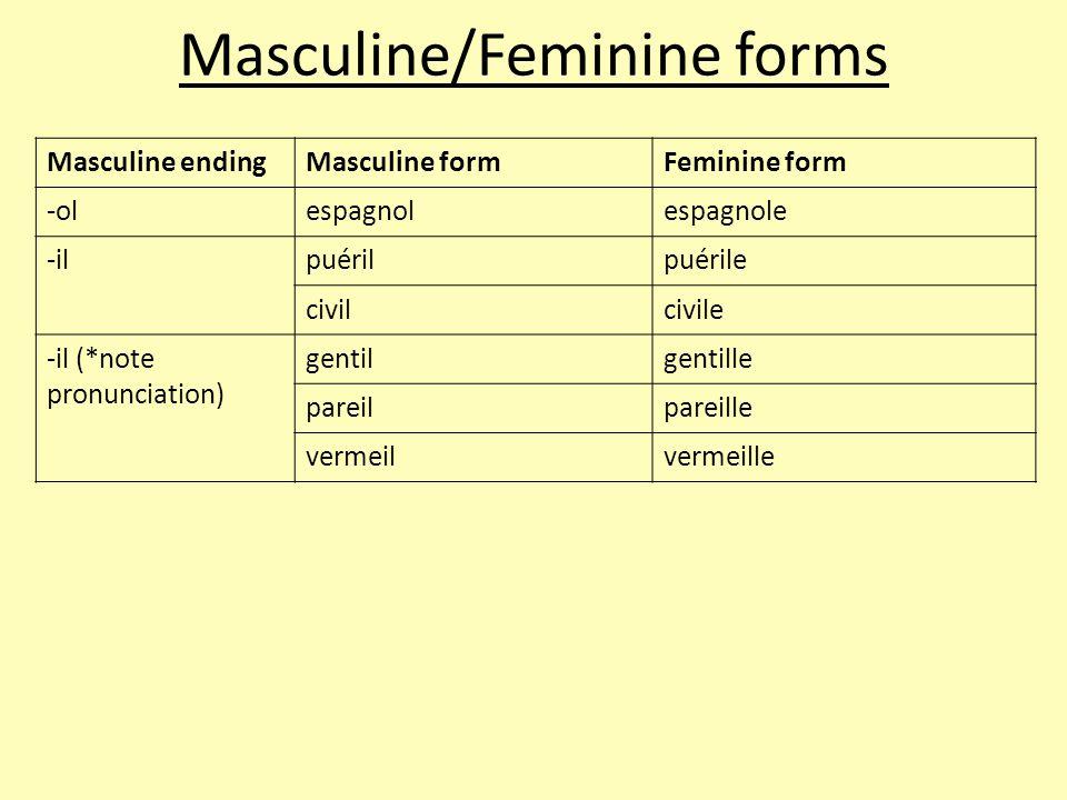 Masculine endingMasculine formFeminine form -olespagnolespagnole -ilpuérilpuérile civilcivile -il (*note pronunciation) gentilgentille pareilpareille vermeilvermeille Masculine/Feminine forms