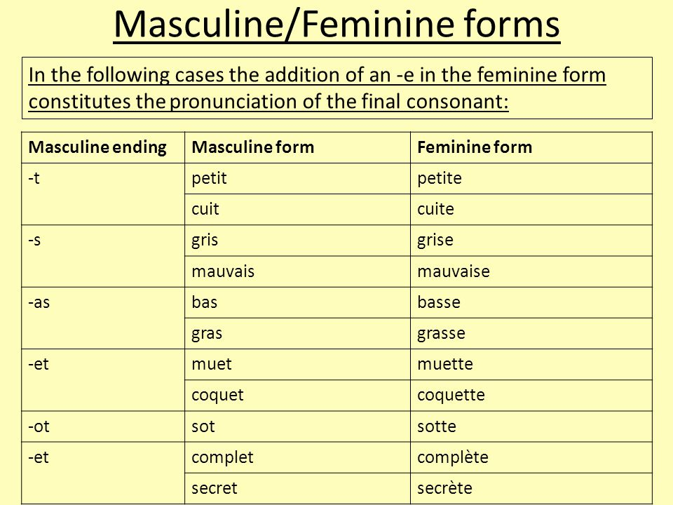 In the following cases the addition of an -e in the feminine form constitutes the pronunciation of the final consonant: Masculine endingMasculine formFeminine form -tpetitpetite cuitcuite -sgrisgrise mauvaismauvaise -asbasbasse grasgrasse -etmuetmuette coquetcoquette -otsotsotte -etcompletcomplète secretsecrète Masculine/Feminine forms