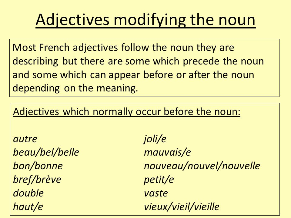 Adjectives modifying the noun Most French adjectives follow the noun they are describing but there are some which precede the noun and some which can appear before or after the noun depending on the meaning.