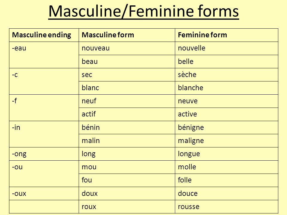 Masculine/Feminine forms Masculine endingMasculine formFeminine form -eaunouveaunouvelle beaubelle -csecsèche blancblanche -fneufneuve actifactive -inbéninbénigne malinmaligne -onglonglongue -oumoumolle foufolle -ouxdouxdouce rouxrousse