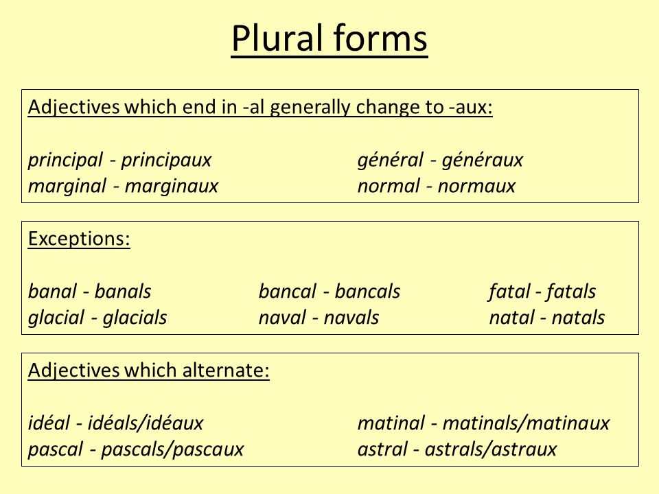 Plural forms Adjectives which end in -al generally change to -aux: principal - principauxgénéral - généraux marginal - marginauxnormal - normaux Exceptions: banal - banalsbancal - bancalsfatal - fatals glacial - glacialsnaval - navalsnatal - natals Adjectives which alternate: idéal - idéals/idéauxmatinal - matinals/matinaux pascal - pascals/pascauxastral - astrals/astraux