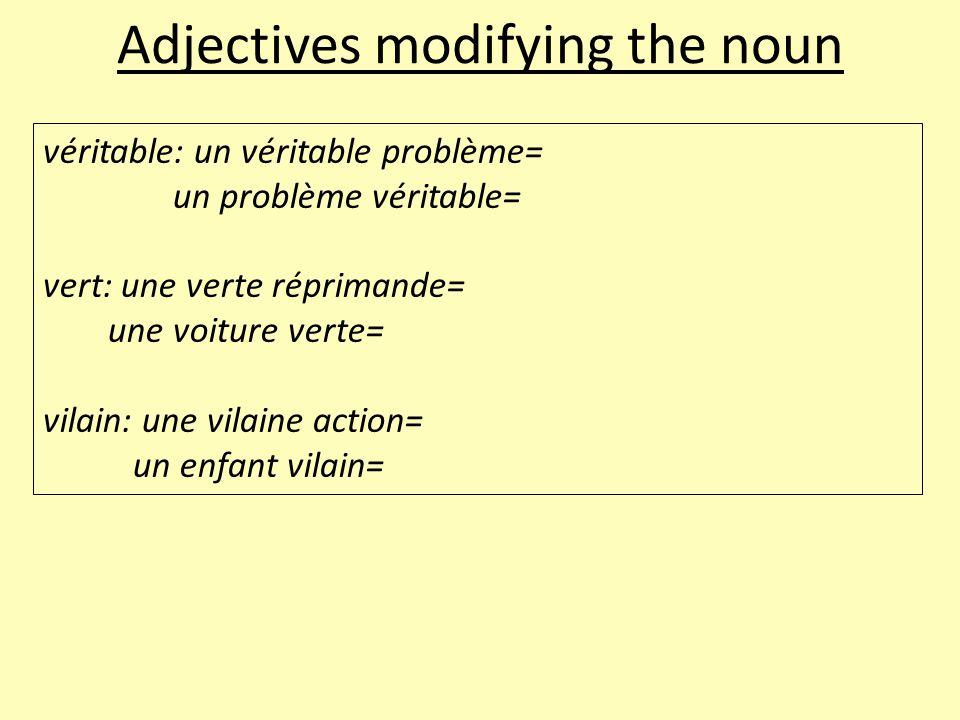 Adjectives modifying the noun véritable: un véritable problème= un problème véritable= vert: une verte réprimande= une voiture verte= vilain: une vilaine action= un enfant vilain=