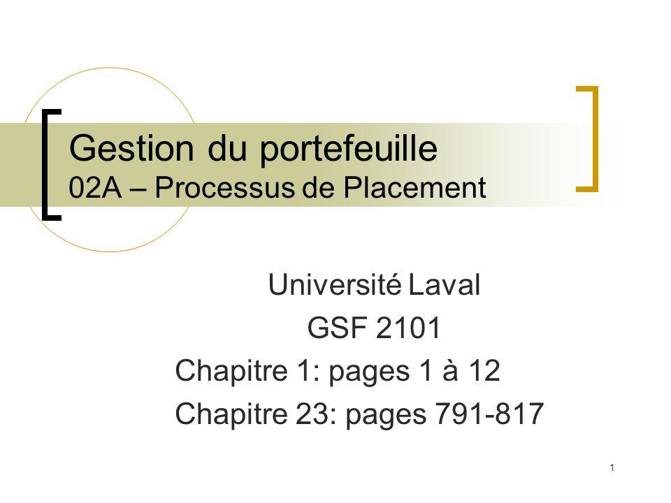 Université Laval GSF 2101 Chapitre 1: pages 1 à 12 Chapitre 23: pages 791-817 Gestion du portefeuille 02A – Processus de Placement 1