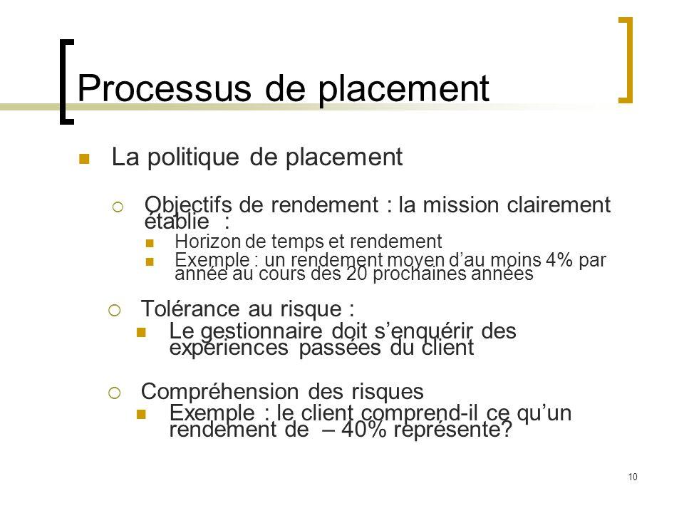 Processus de placement La politique de placement  Objectifs de rendement : la mission clairement établie : Horizon de temps et rendement Exemple : un