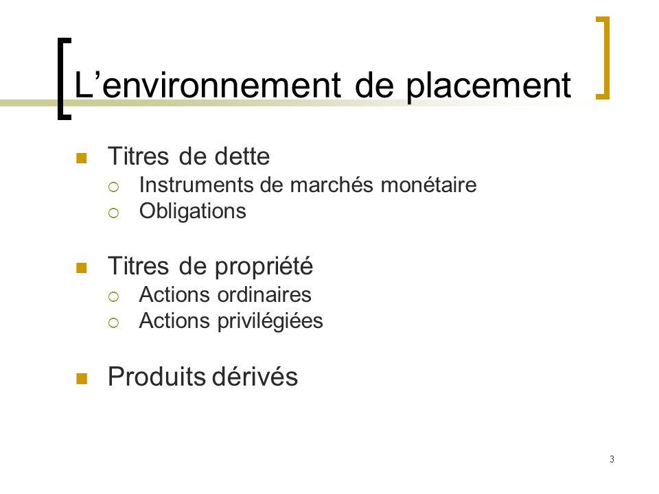 L'environnement de placement Titres de dette  Instruments de marchés monétaire  Obligations Titres de propriété  Actions ordinaires  Actions privi