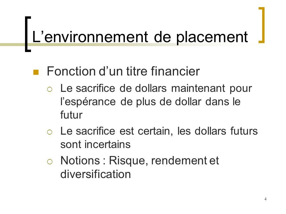 L'environnement de placement Fonction d'un titre financier  Le sacrifice de dollars maintenant pour l'espérance de plus de dollar dans le futur  Le