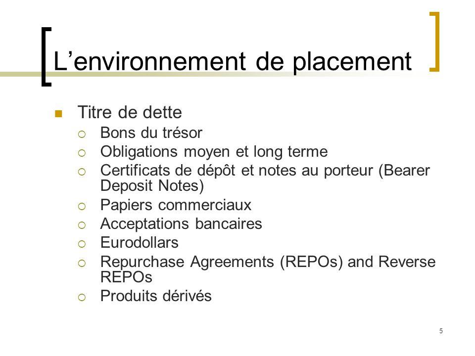 L'environnement de placement Titre de dette  Bons du trésor  Obligations moyen et long terme  Certificats de dépôt et notes au porteur (Bearer Depo