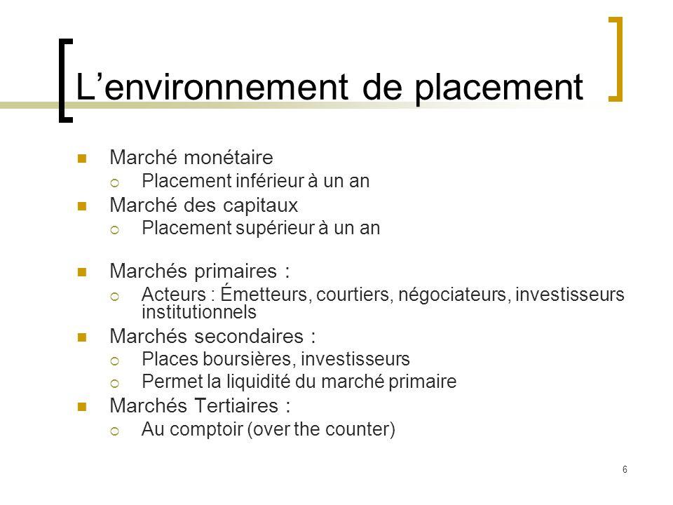 L'environnement de placement Intermédiaires financiers:  Marchés boursiers  Banques  Courtiers  Fonds communs de placement  Fonds de pension  Compagnies d'assurance… 7