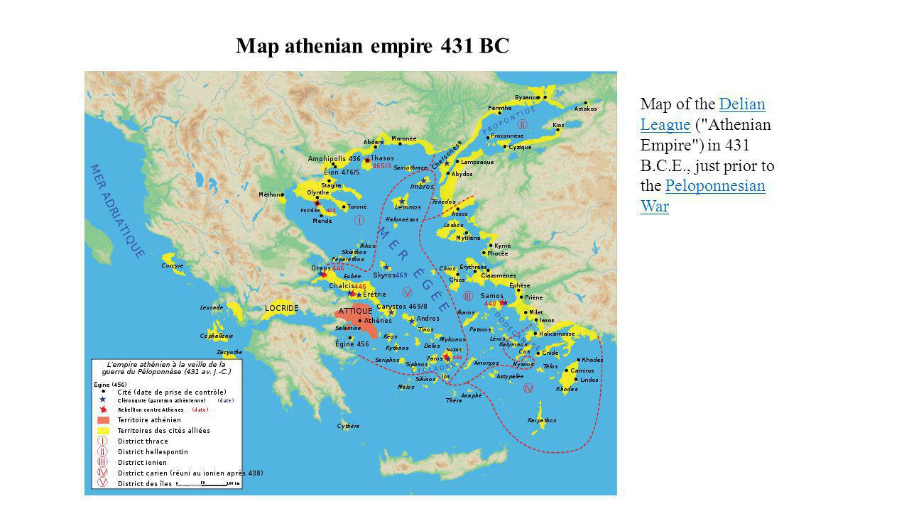 Map athenian empire 431 BC Map of the Delian League (