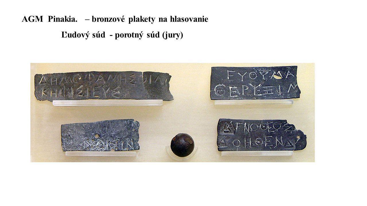 AGM Pinakia. – bronzové plakety na hlasovanie Ľudový súd - porotný súd (jury)