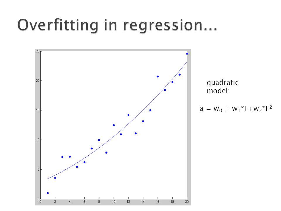 a = w 0 + w 1 *F+w 2 *F 2 quadratic model: