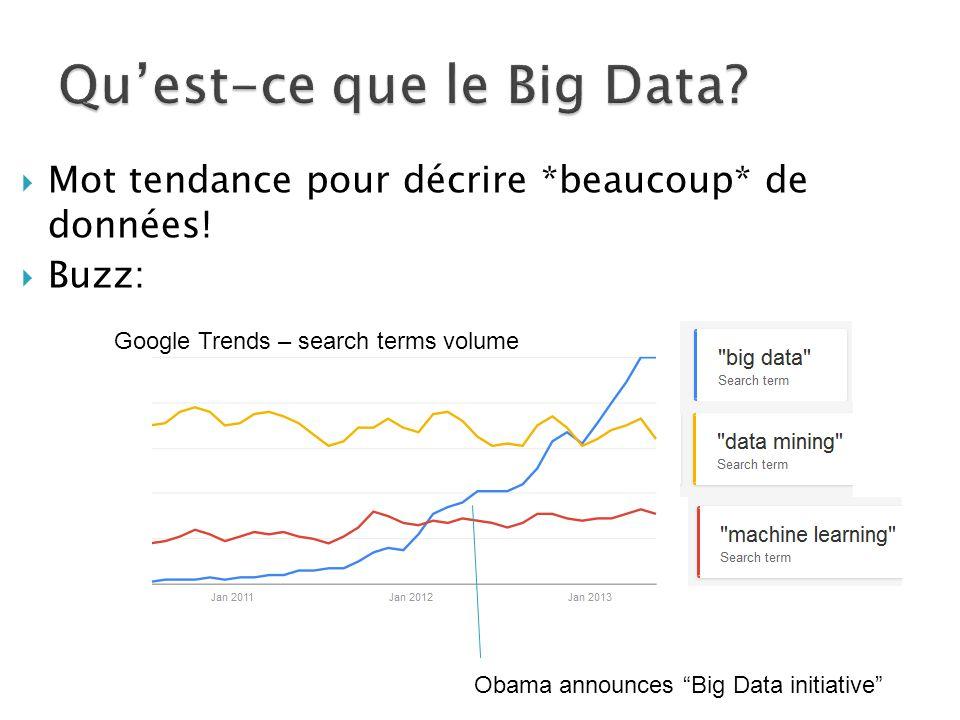  Mot tendance pour décrire *beaucoup* de données.