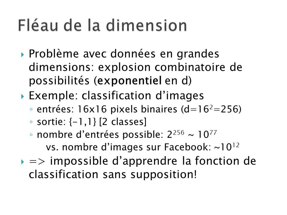  Problème avec données en grandes dimensions: explosion combinatoire de possibilités (exponentiel en d)  Exemple: classification d'images ◦ entrées: 16x16 pixels binaires (d=16 2 =256) ◦ sortie: {-1,1} [2 classes] ◦ nombre d'entrées possible: 2 256 ~ 10 77 vs.
