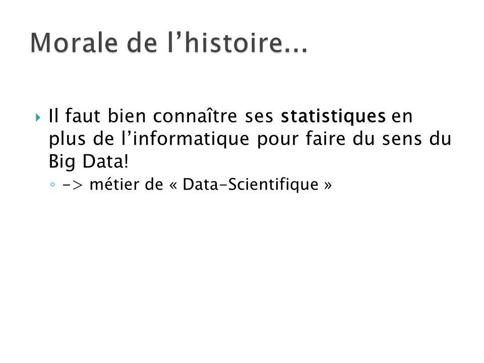  Il faut bien connaître ses statistiques en plus de l'informatique pour faire du sens du Big Data.