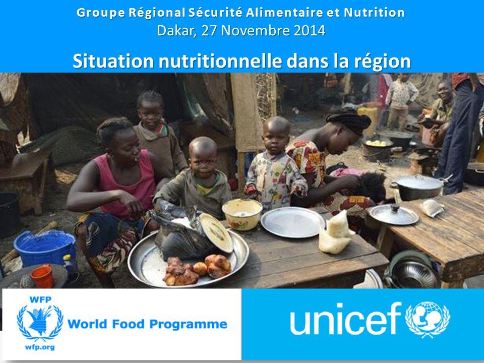 13 Groupe Régional Sécurité Alimentaire et Nutrition Dakar, 27 Novembre 2014 Situation nutritionnelle dans la région