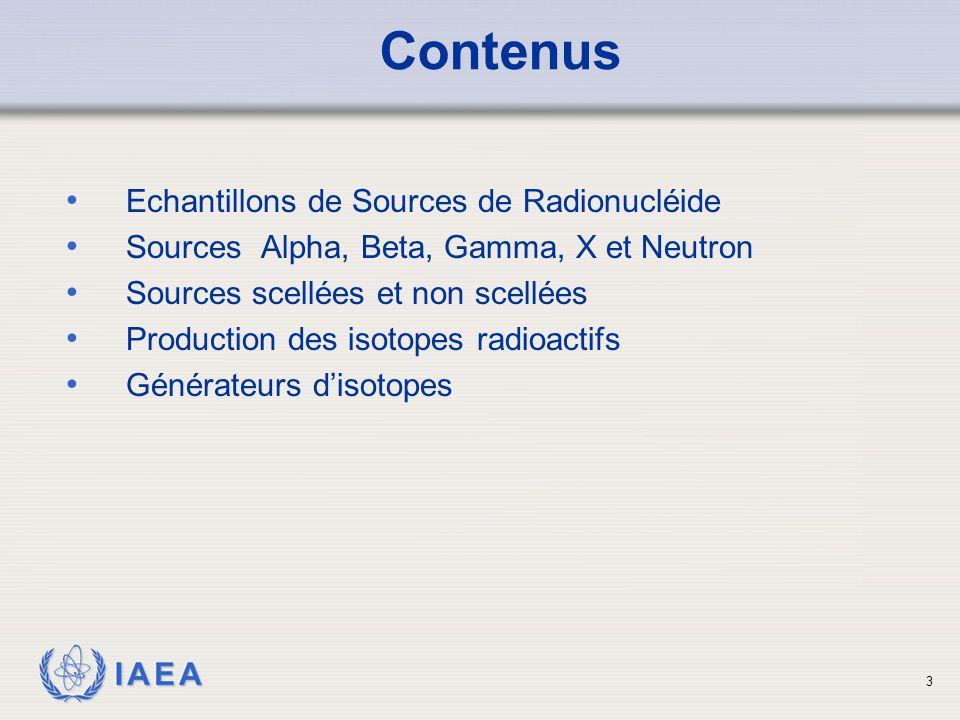 IAEA Echantillon de sources Alpha 14