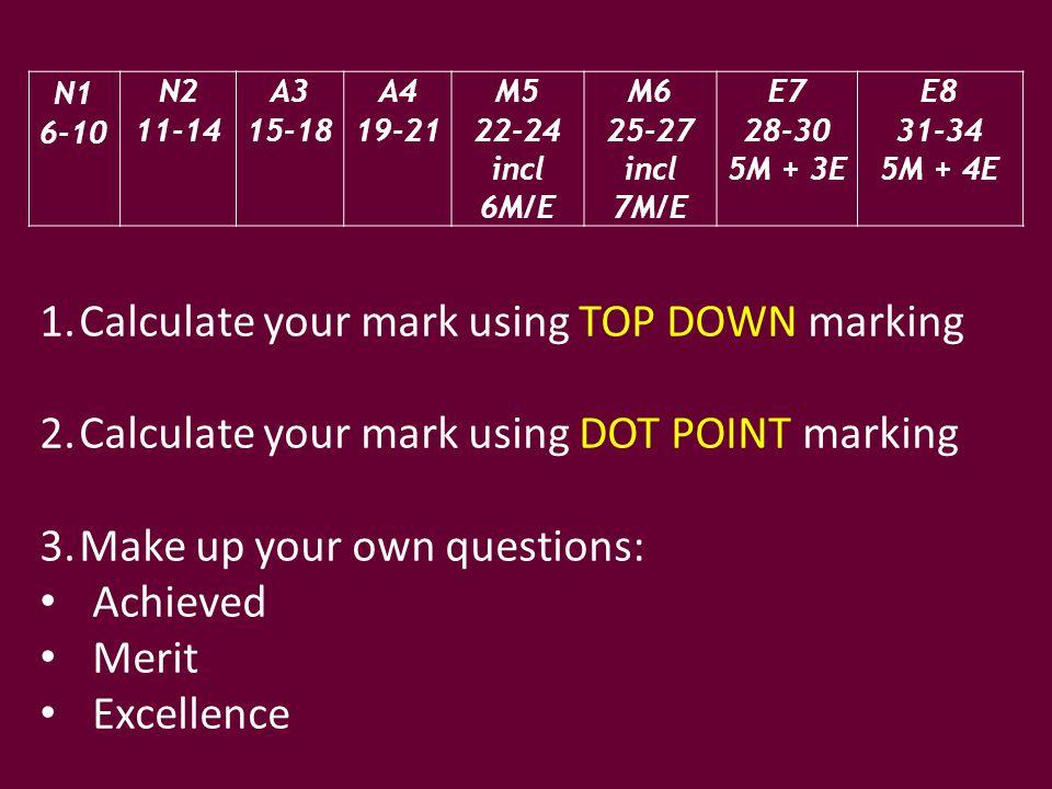N1 6-10 N2 11-14 A3 15-18 A4 19-21 M5 22-24 incl 6M/E M6 25-27 incl 7M/E E7 28-30 5M + 3E E8 31-34 5M + 4E 1.Calculate your mark using TOP DOWN markin