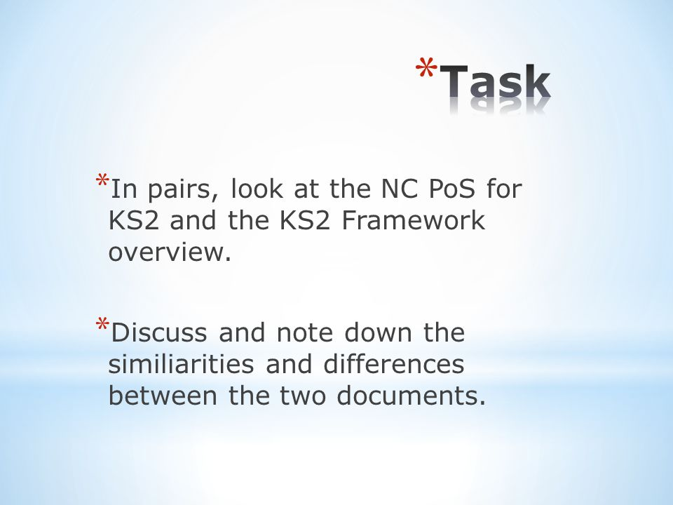* In pairs, look at the NC PoS for KS2 and the KS2 Framework overview.
