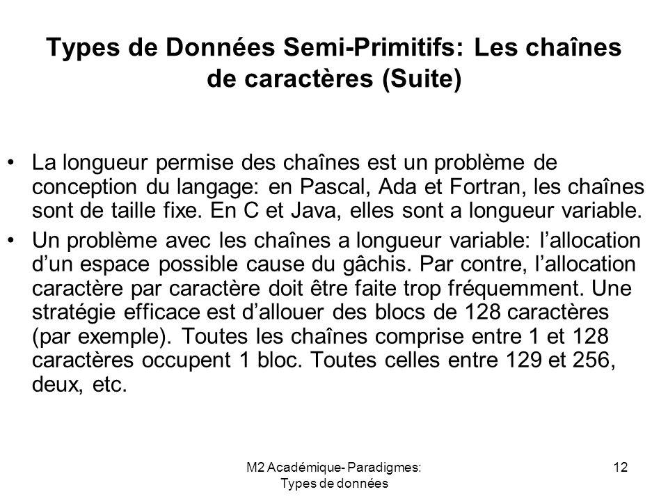 M2 Académique- Paradigmes: Types de données 12 Types de Données Semi-Primitifs: Les chaînes de caractères (Suite) La longueur permise des chaînes est un problème de conception du langage: en Pascal, Ada et Fortran, les chaînes sont de taille fixe.