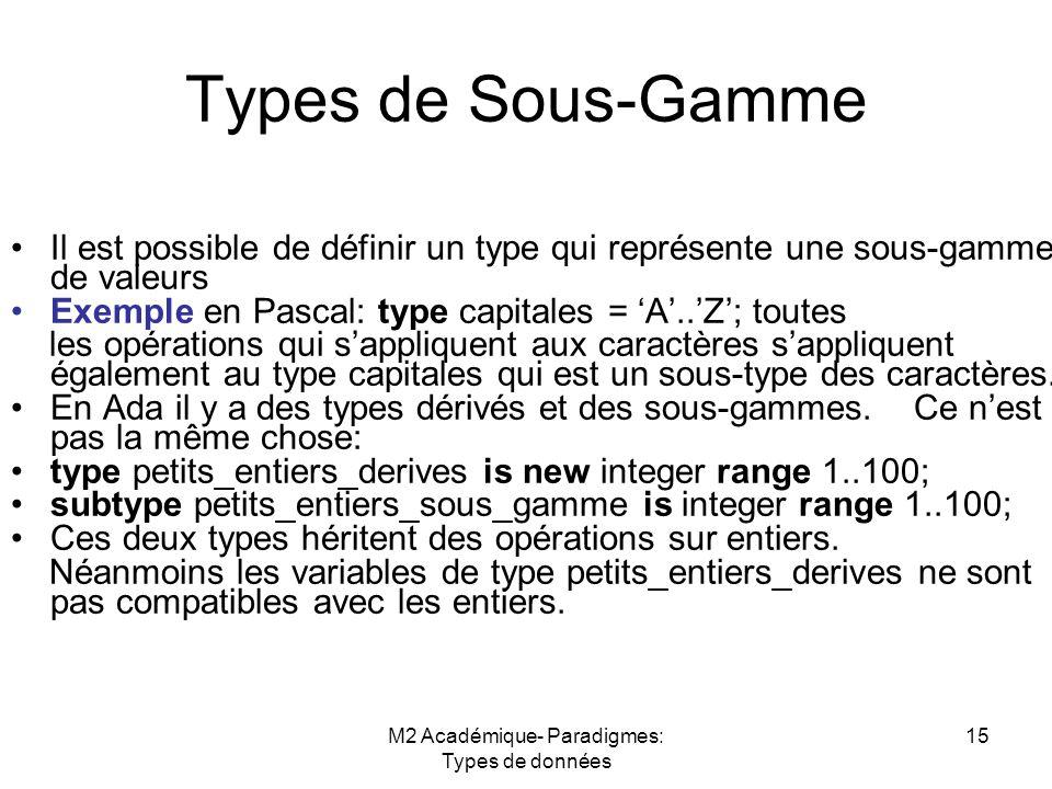 M2 Académique- Paradigmes: Types de données 15 Types de Sous-Gamme Il est possible de définir un type qui représente une sous-gamme de valeurs Exemple en Pascal: type capitales = 'A'..'Z'; toutes les opérations qui s'appliquent aux caractères s'appliquent également au type capitales qui est un sous-type des caractères.