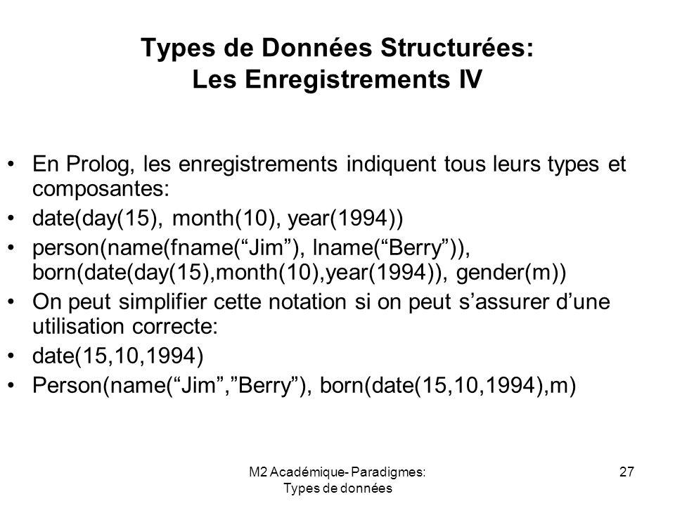 M2 Académique- Paradigmes: Types de données 27 Types de Données Structurées: Les Enregistrements IV En Prolog, les enregistrements indiquent tous leurs types et composantes: date(day(15), month(10), year(1994)) person(name(fname( Jim ), lname( Berry )), born(date(day(15),month(10),year(1994)), gender(m)) On peut simplifier cette notation si on peut s'assurer d'une utilisation correcte: date(15,10,1994) Person(name( Jim , Berry ), born(date(15,10,1994),m)