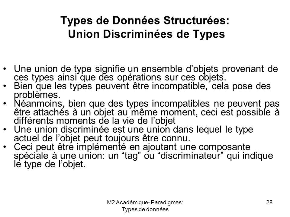 M2 Académique- Paradigmes: Types de données 28 Types de Données Structurées: Union Discriminées de Types Une union de type signifie un ensemble d'objets provenant de ces types ainsi que des opérations sur ces objets.