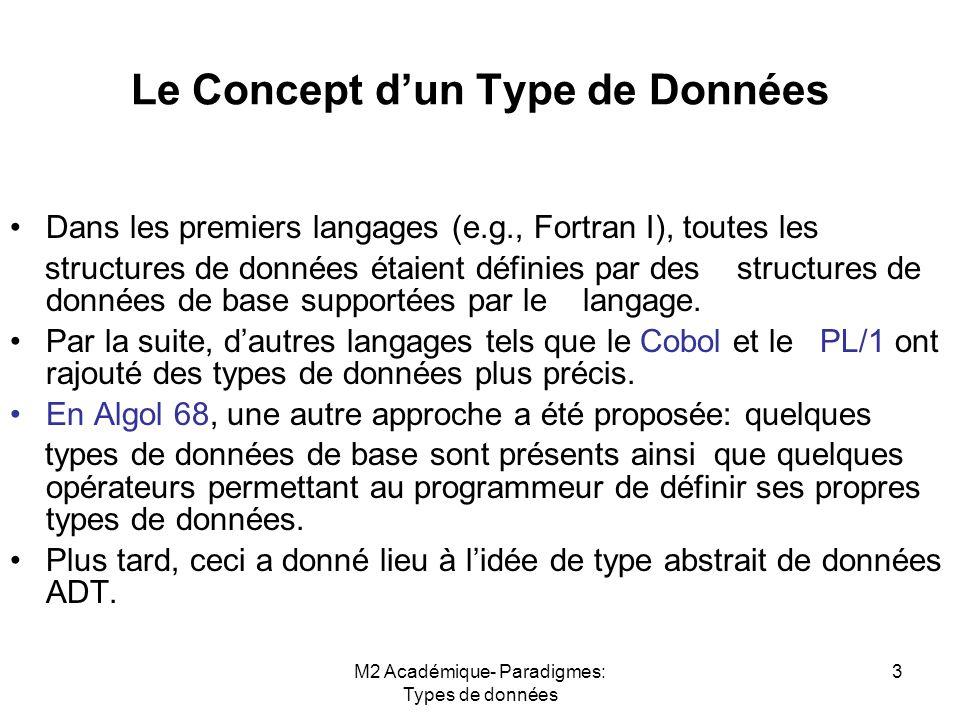 M2 Académique- Paradigmes: Types de données 3 Le Concept d'un Type de Données Dans les premiers langages (e.g., Fortran I), toutes les structures de données étaient définies par des structures de données de base supportées par le langage.