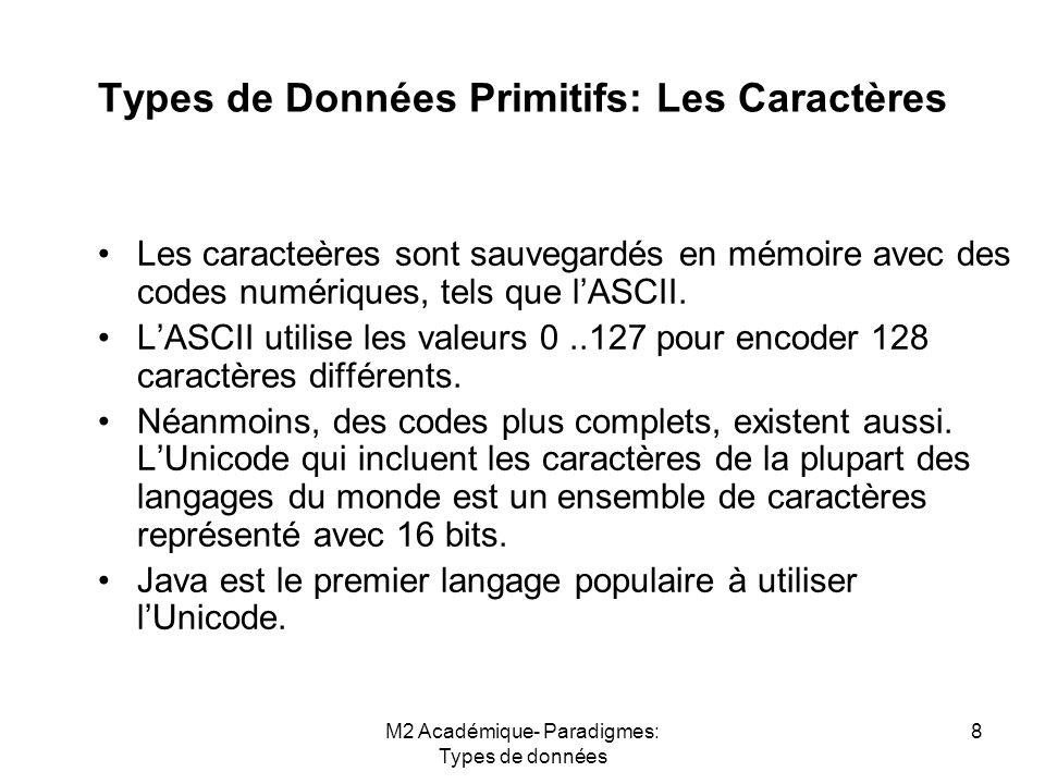 M2 Académique- Paradigmes: Types de données 8 Types de Données Primitifs: Les Caractères Les caracteères sont sauvegardés en mémoire avec des codes numériques, tels que l'ASCII.