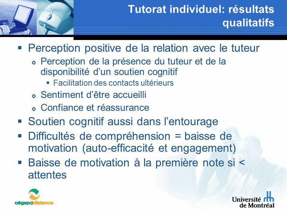 Tutorat individuel: résultats qualitatifs  Perception positive de la relation avec le tuteur  Perception de la présence du tuteur et de la disponibi