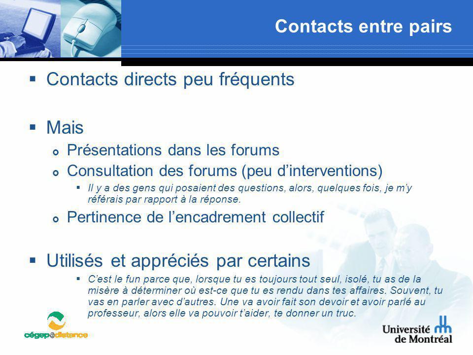 Contacts entre pairs  Contacts directs peu fréquents  Mais  Présentations dans les forums  Consultation des forums (peu d'interventions)  Il y a