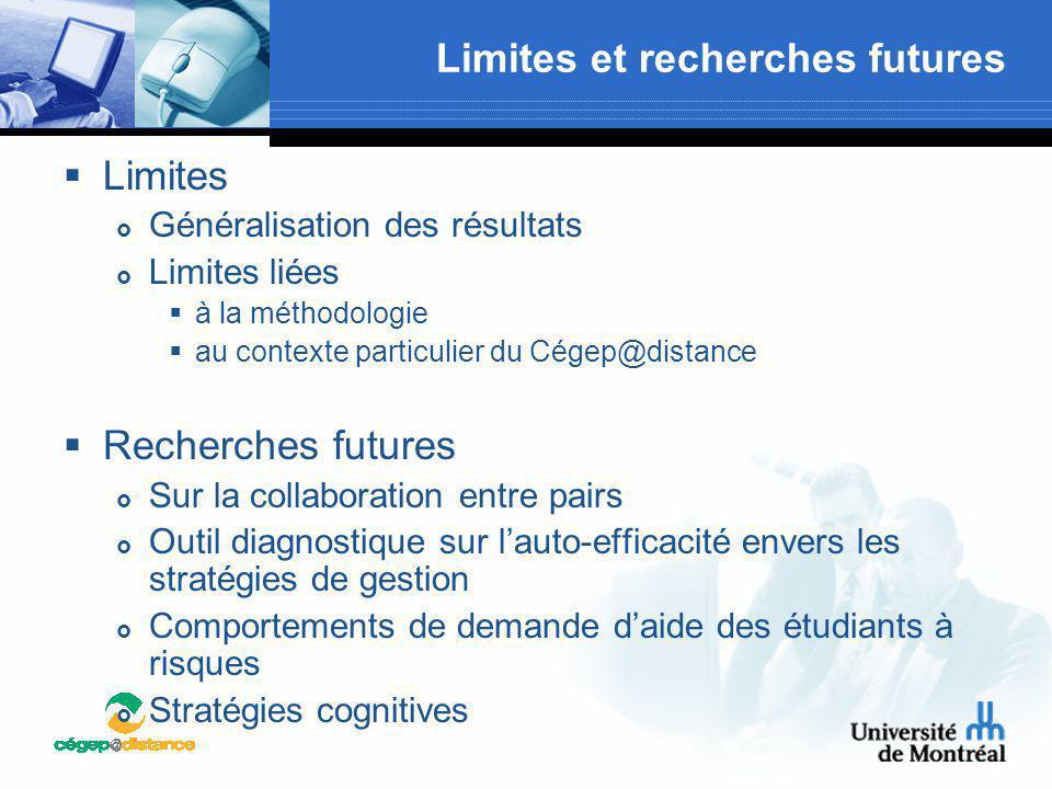 Limites et recherches futures  Limites  Généralisation des résultats  Limites liées  à la méthodologie  au contexte particulier du Cégep@distance