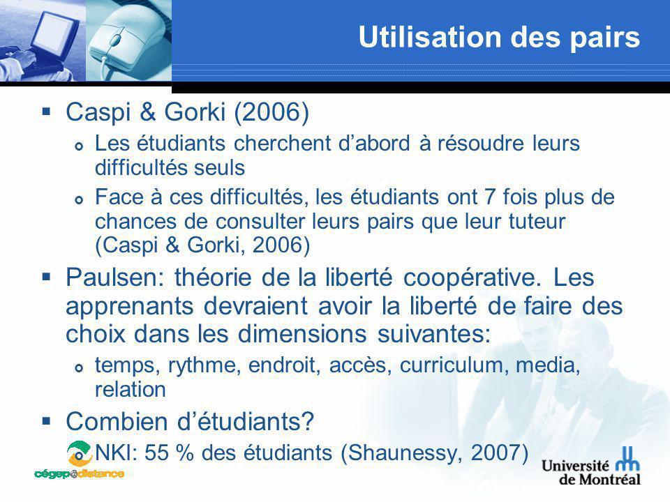 Utilisation des pairs  Caspi & Gorki (2006)  Les étudiants cherchent d'abord à résoudre leurs difficultés seuls  Face à ces difficultés, les étudia