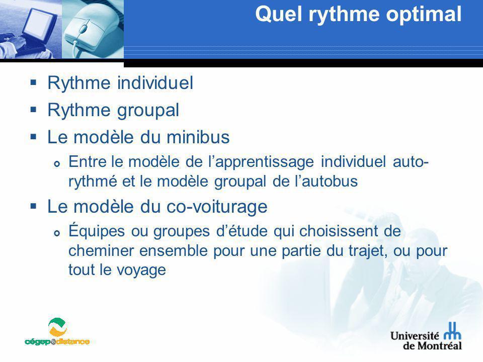 Quel rythme optimal  Rythme individuel  Rythme groupal  Le modèle du minibus  Entre le modèle de l'apprentissage individuel auto- rythmé et le mod