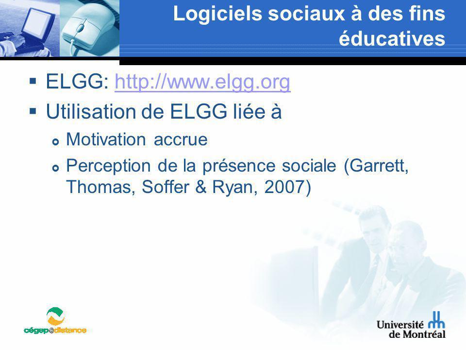 Logiciels sociaux à des fins éducatives  ELGG: http://www.elgg.orghttp://www.elgg.org  Utilisation de ELGG liée à  Motivation accrue  Perception d
