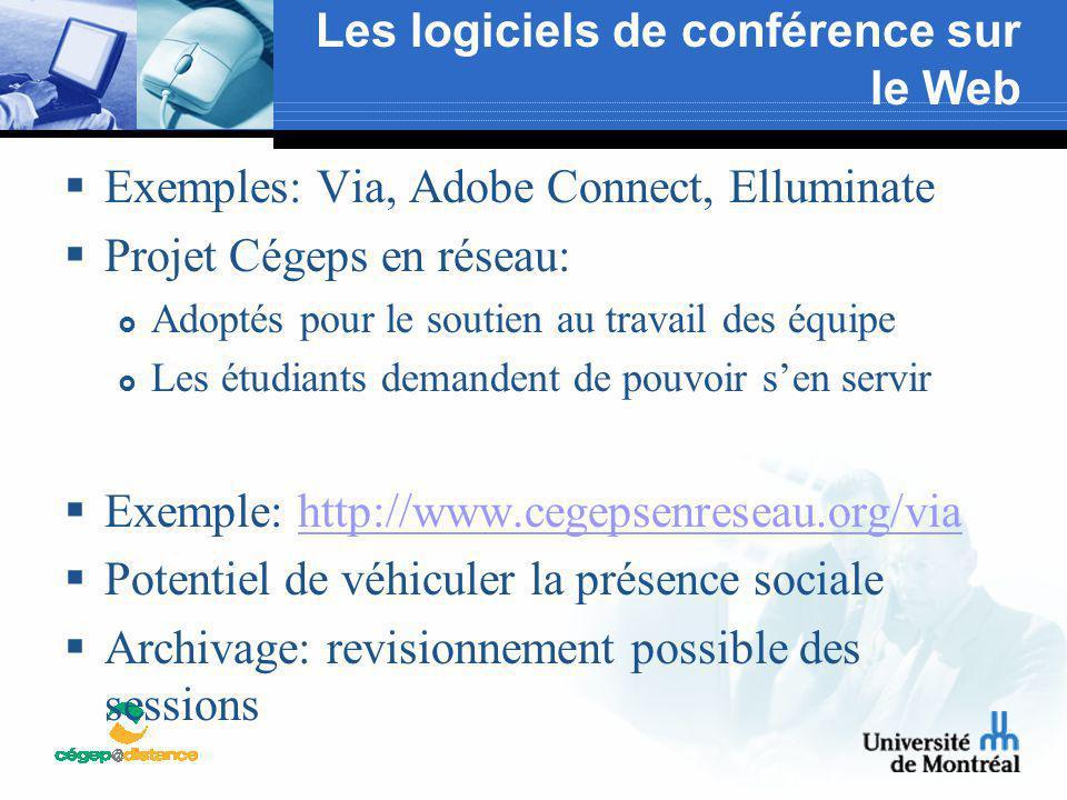 Les logiciels de conférence sur le Web  Exemples: Via, Adobe Connect, Elluminate  Projet Cégeps en réseau:  Adoptés pour le soutien au travail des