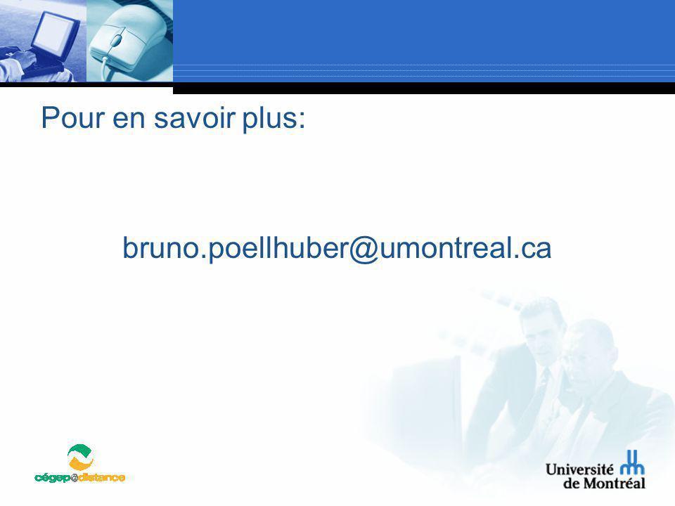 Pour en savoir plus: bruno.poellhuber@umontreal.ca