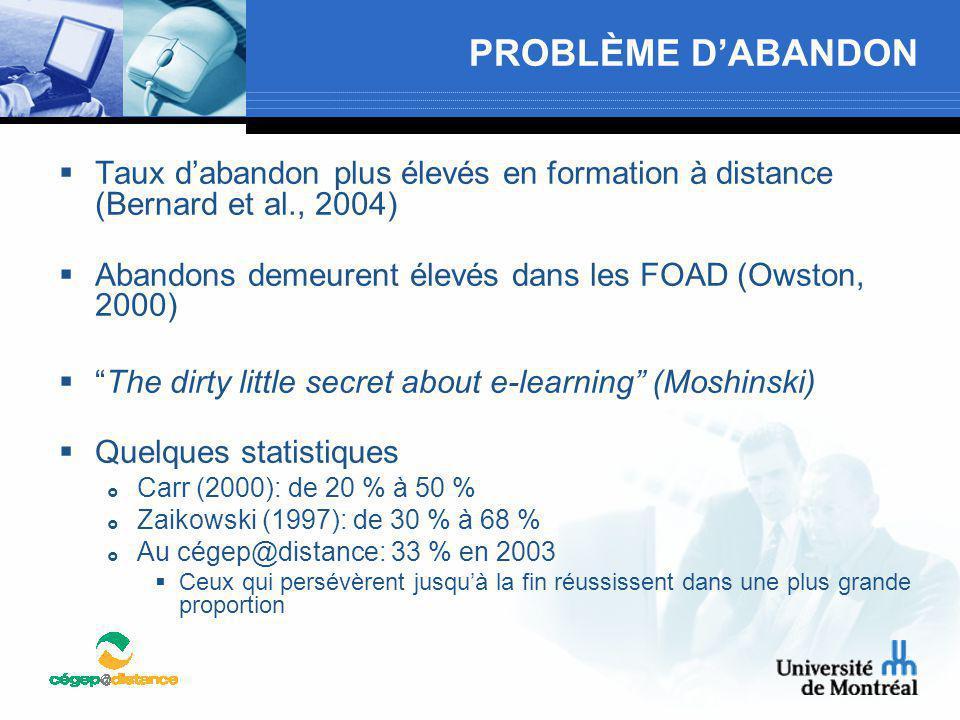 PROBLÈME D'ABANDON  Taux d'abandon plus élevés en formation à distance (Bernard et al., 2004)  Abandons demeurent élevés dans les FOAD (Owston, 2000