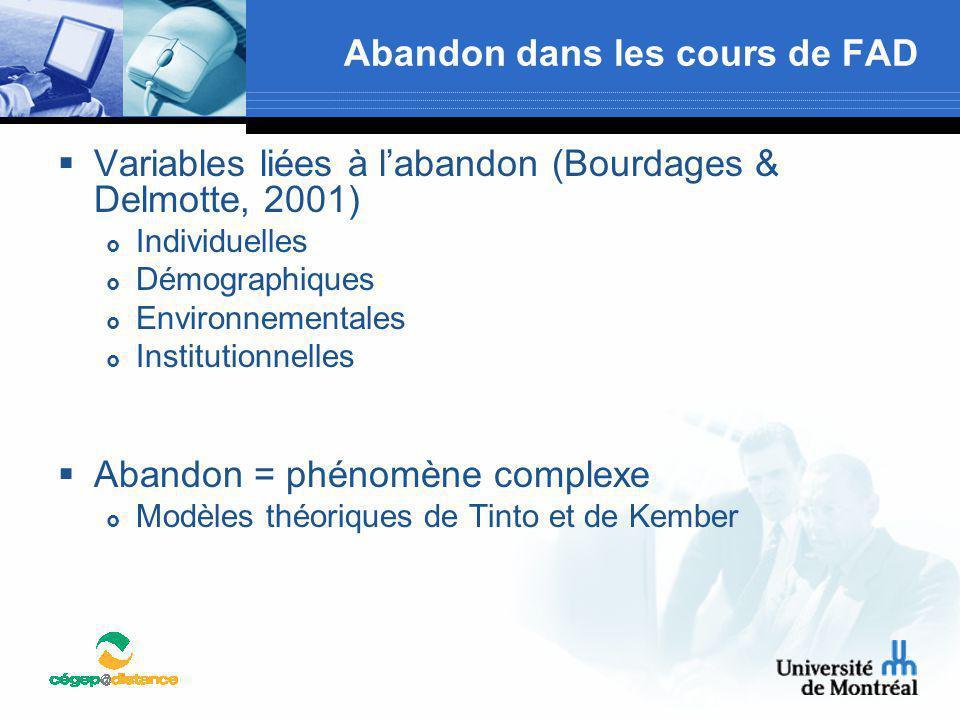 Abandon dans les cours de FAD  Variables liées à l'abandon (Bourdages & Delmotte, 2001)  Individuelles  Démographiques  Environnementales  Instit
