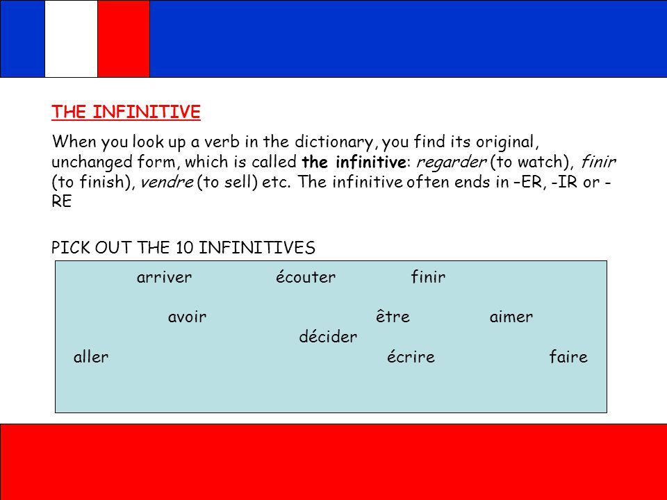 THE INFINITIVE When you look up a verb in the dictionary, you find its original, unchanged form, which is called the infinitive: regarder (to watch), finir (to finish), vendre (to sell) etc.