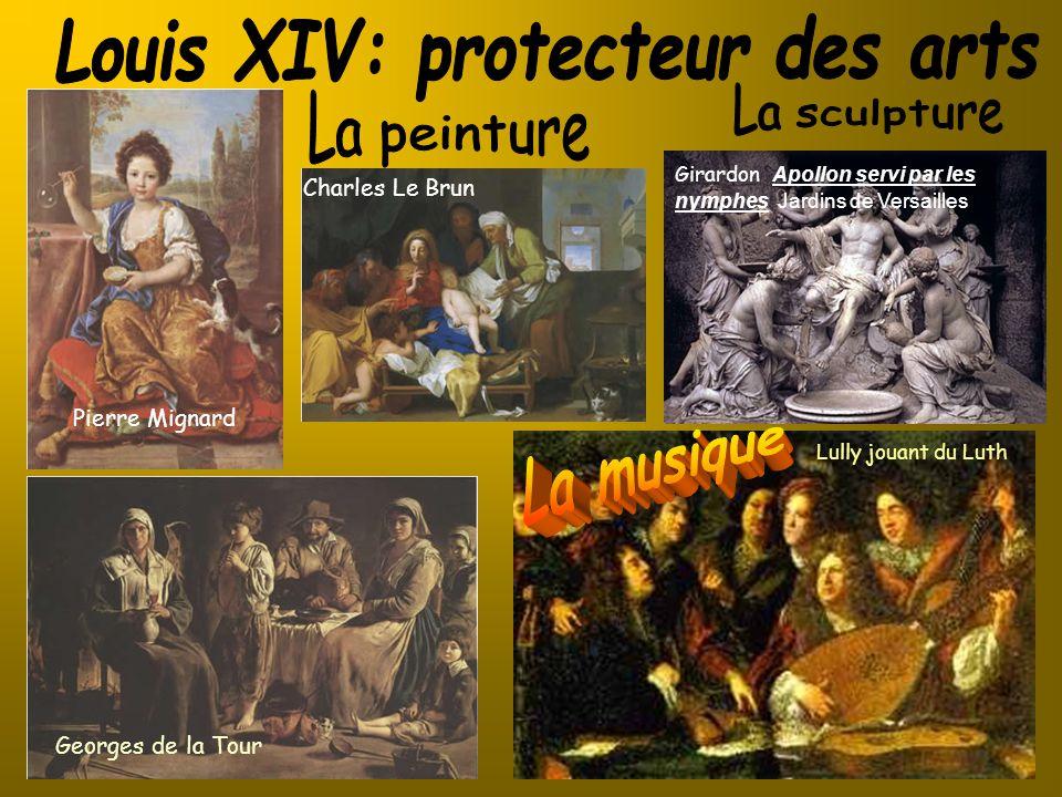 Pierre Mignard Charles Le Brun Georges de la Tour Lully jouant du Luth Girardon Apollon servi par les nymphes Jardins de Versailles)